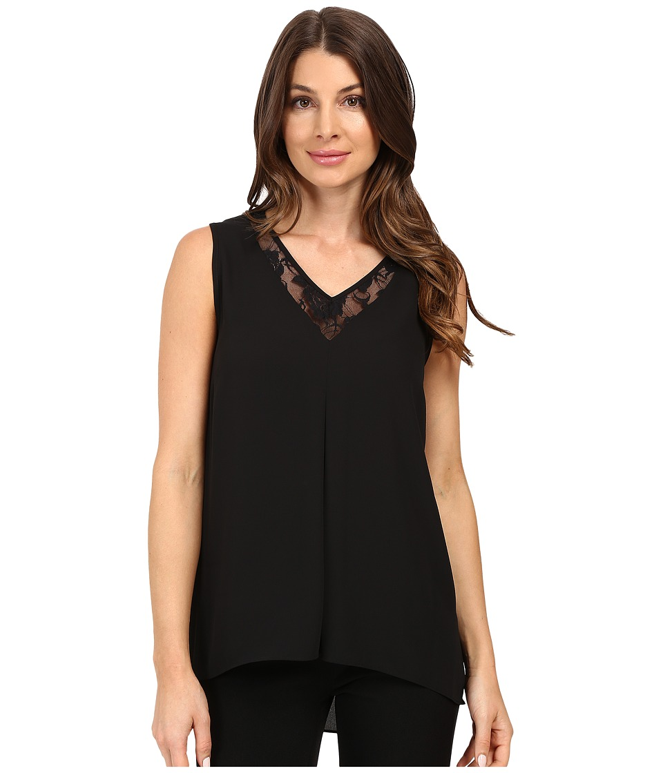 Vince Camuto - Sleeveless Lace Front High-Low Hem Blouse (Black) Women's Clothing
