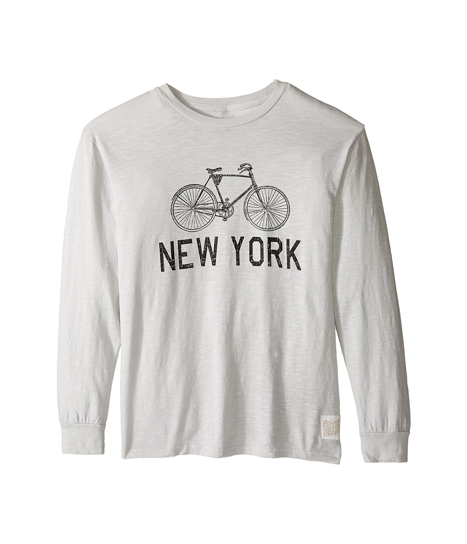 The Original Retro Brand Kids - New York Bike Slub Long Sleeve Tee (Big Kids) (Soft Grey) Boy's T Shirt
