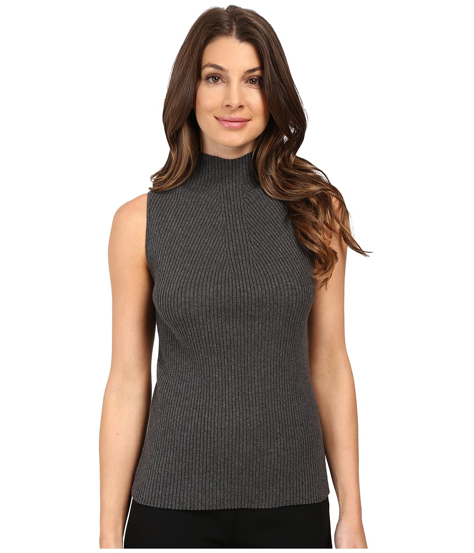 Vince Camuto - Sleeveless Mock Neck Ribbed Sweater (Medium Heather Grey) Women's Sweater