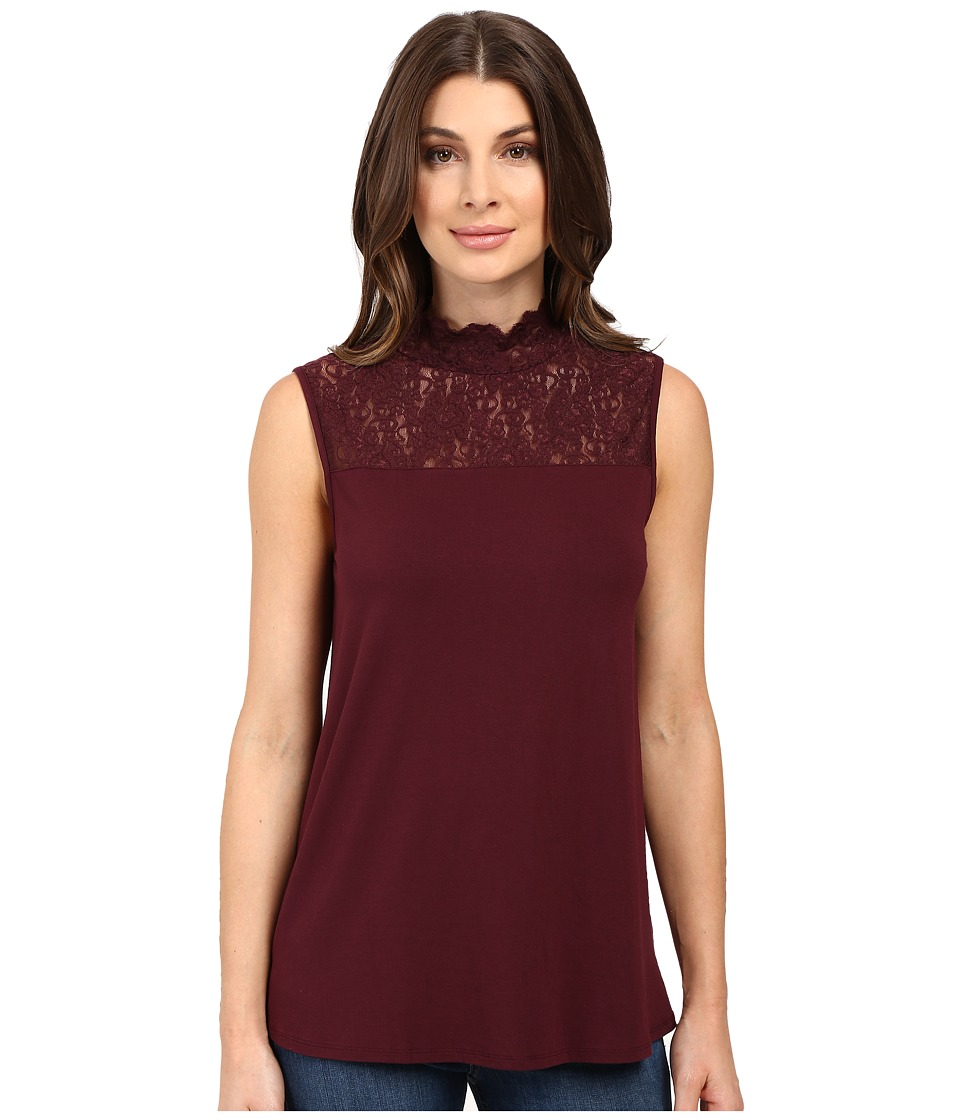 Vince Camuto - Sleeveless Top with Lace Mock Neck and Yoke (Raisin) Women's Clothing