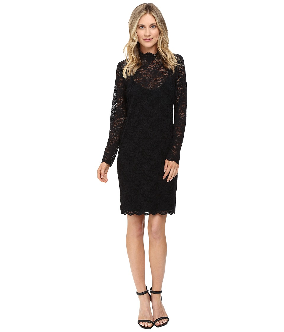 Vince Camuto - Long Sleeve Mock Neck Scallop Lace Dress (Black) Women's Dress