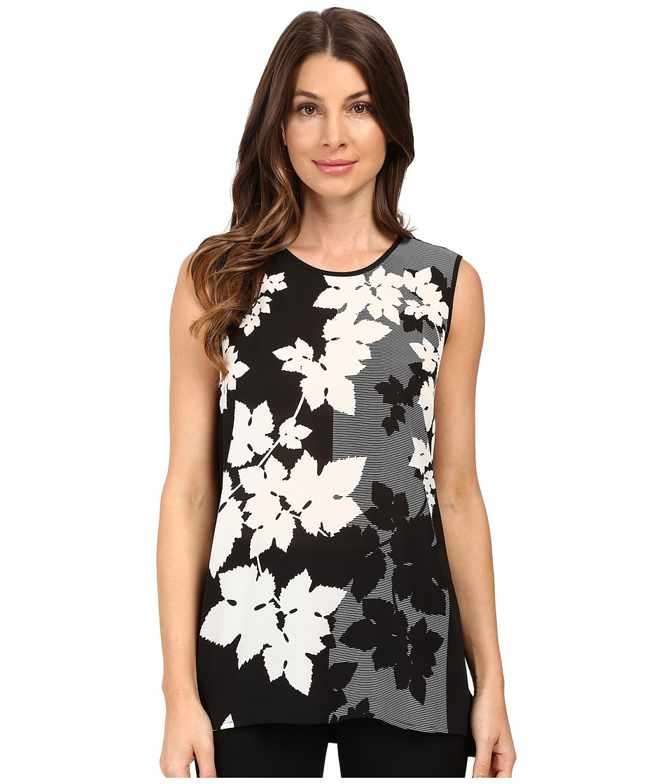 Vince Camuto - Sleeveless Floral Screen Shirt Tail Mix Media Top (Rich Black) Women's Sleeveless