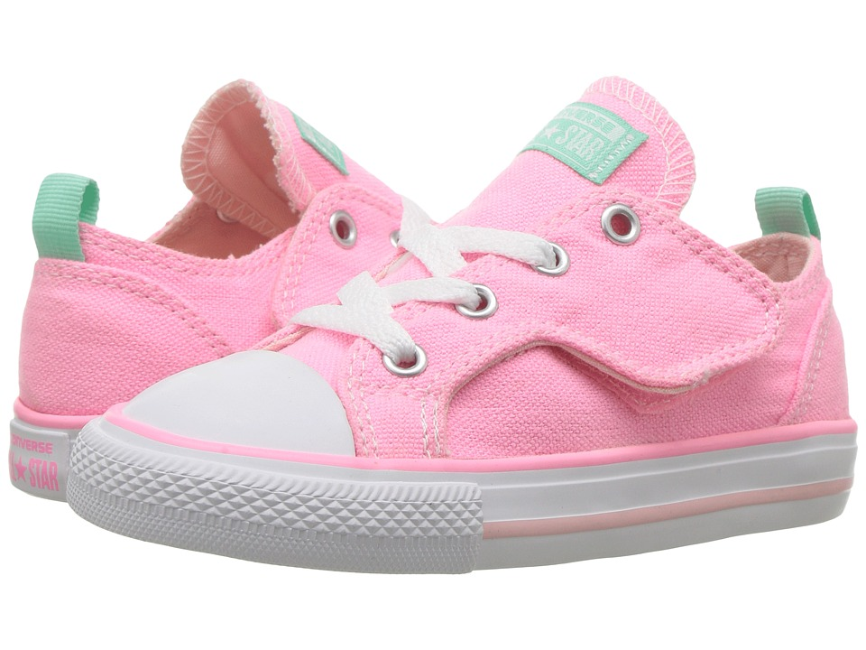Converse Kids Chuck Taylor Simple Step Ox (Infant/Toddler) (Pink Glow/Vapor Pink/Green Glow) Girls Shoes