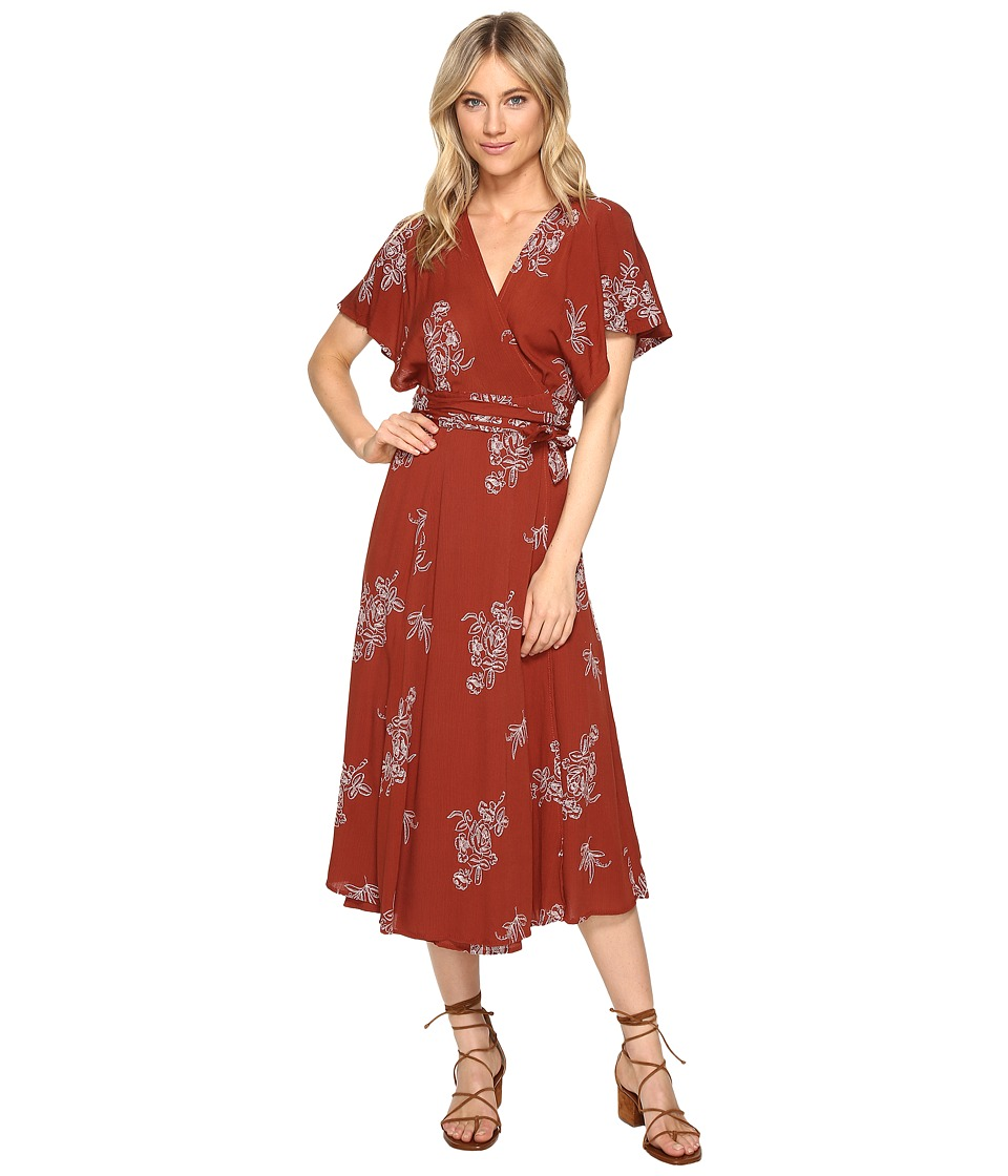 Brigitte Bailey - Audrina Wrap Dress with Embroidery (Rust) Women's Dress