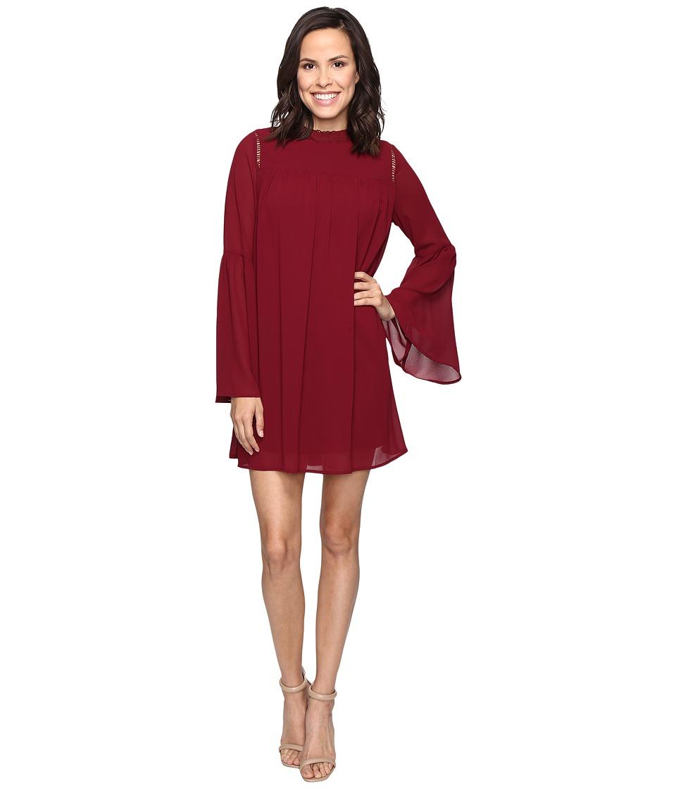 Brigitte Bailey - Blakely Bell Sleeve Mock Neck Dress (Plum) Women's Dress