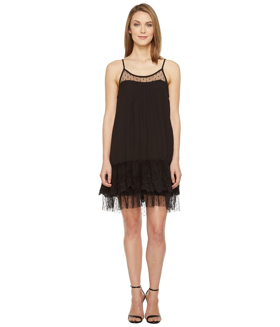 Brigitte Bailey - Briah Spaghetti Strap Dress with Lace Detail (Black) Women's Dress