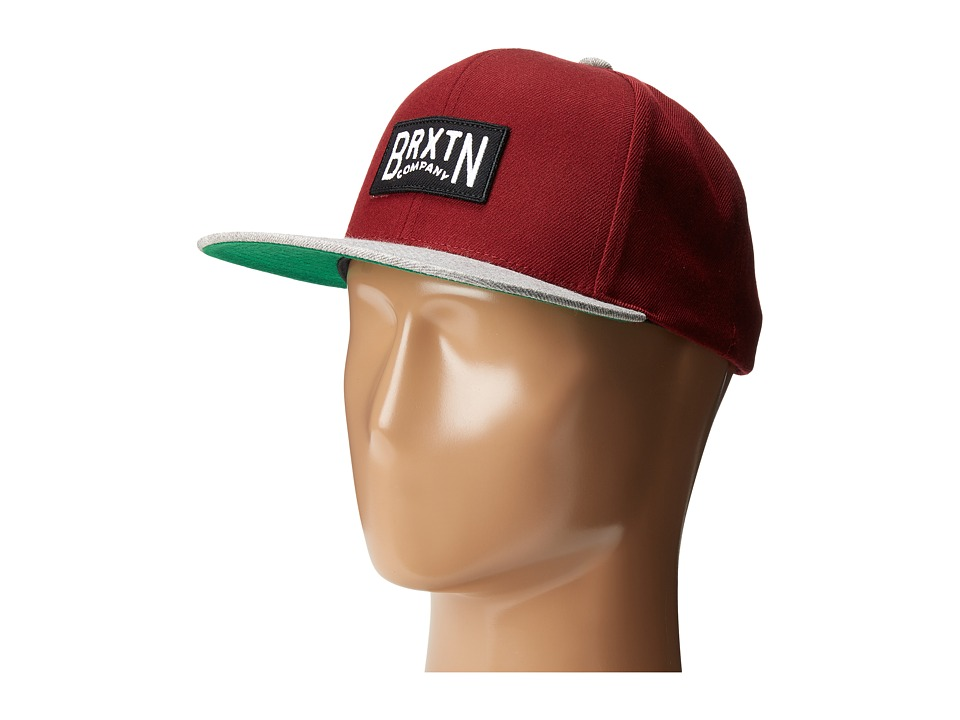 Brixton - Langley Snapback (Burgundy/Light Heather Grey) Caps