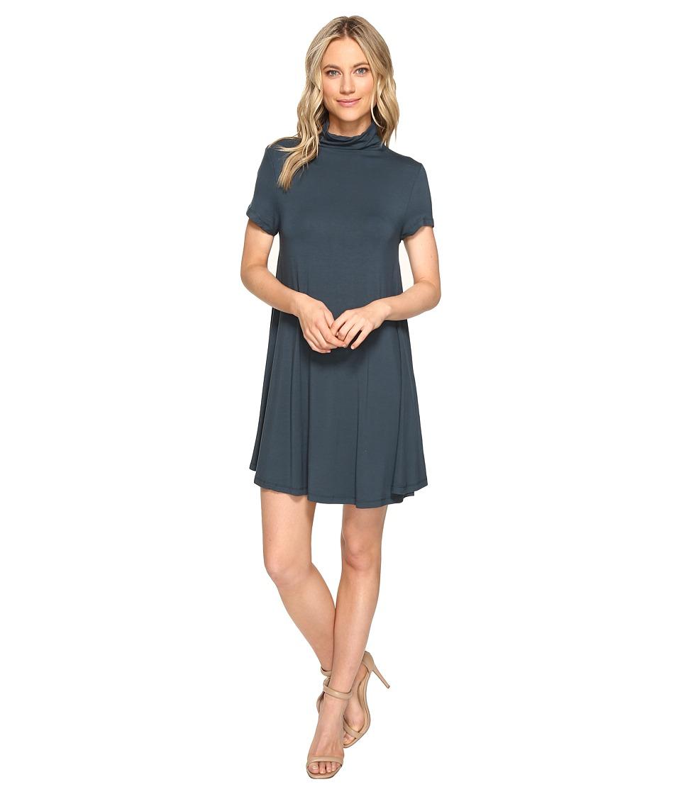 Culture Phit Saige Short Sleeve Turtleneck Dress (Teal) Women