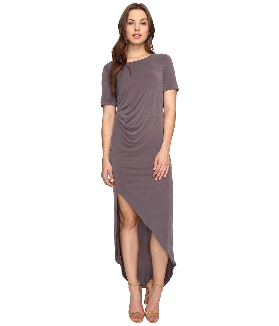 Culture Phit - Ines Short Sleeve Dress with Ruched Side (Dusty Plum) Women's Dress