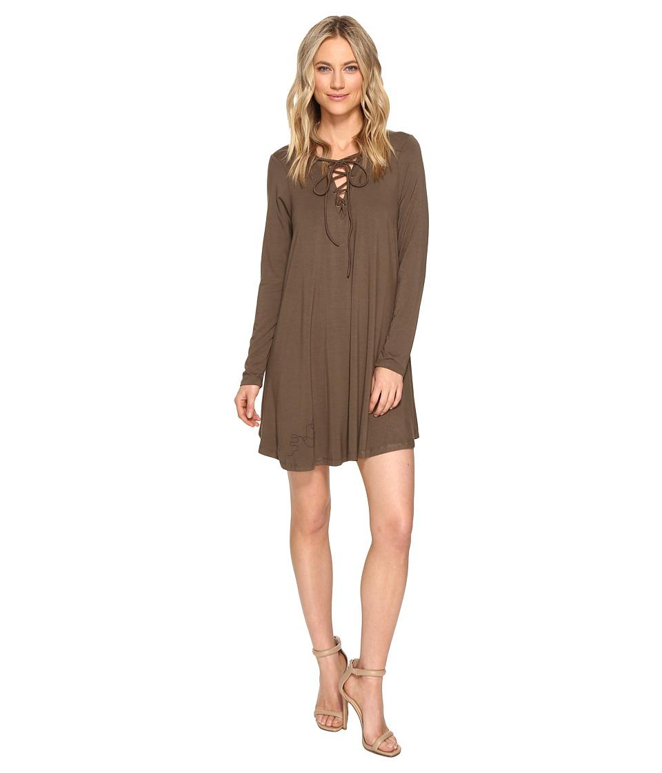 Culture Phit - Rozelle Long Sleeve Tie-Up Dress (Olive) Women's Dress