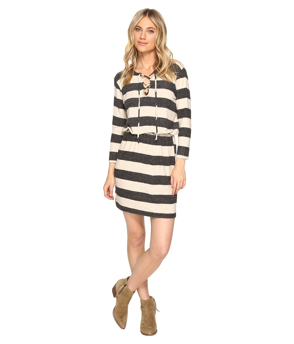 Culture Phit Mabel Tie-Up Long Sleeve Sweater Dress (Charcoal/Beige) Women