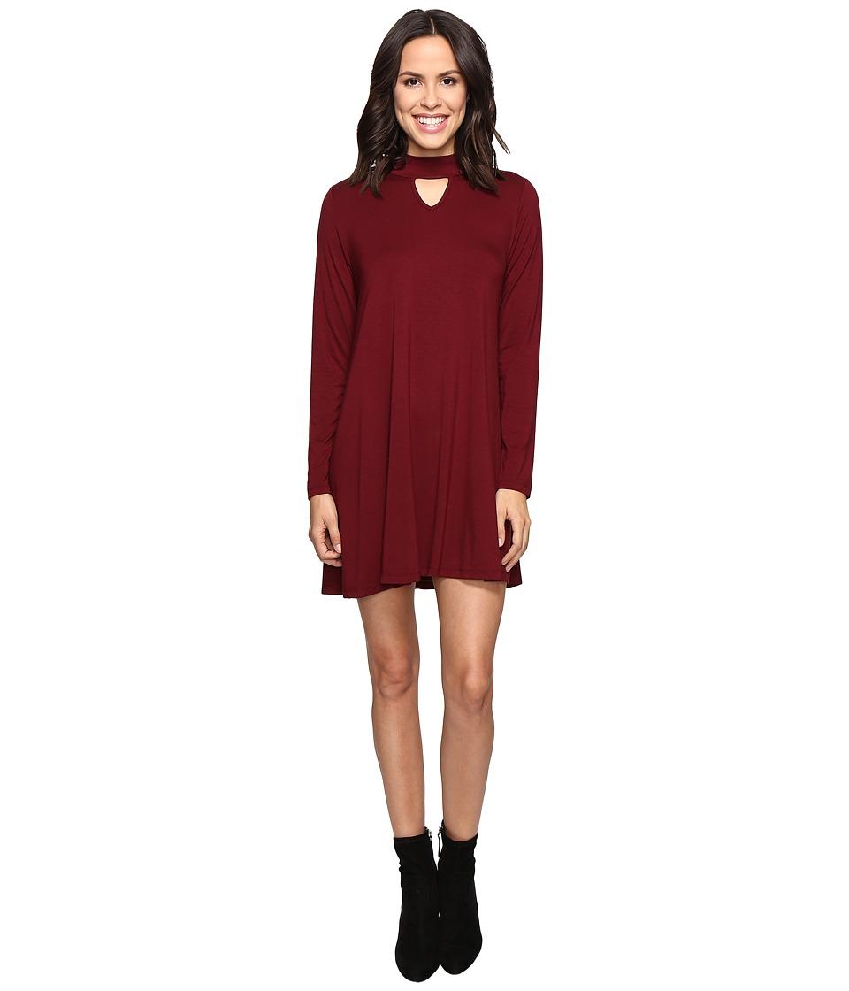 Culture Phit - Priscilla Long Sleeve Keyhole Dress (Burgundy) Women's Dress