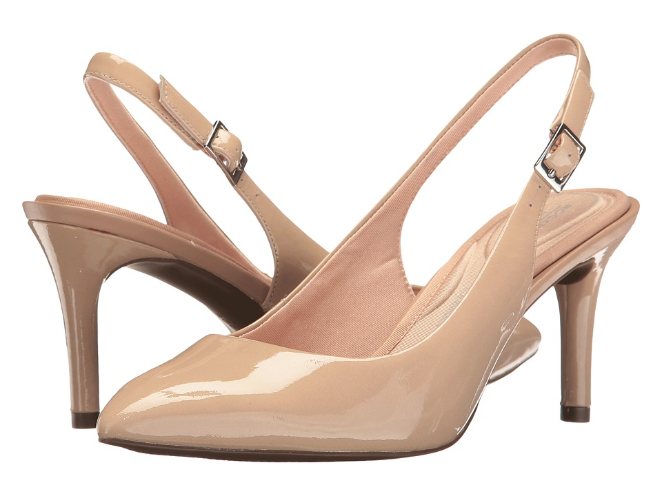 Rockport - Total Motion 75mm Pointy Toe Sling (Warm Taupe Patent) High Heels