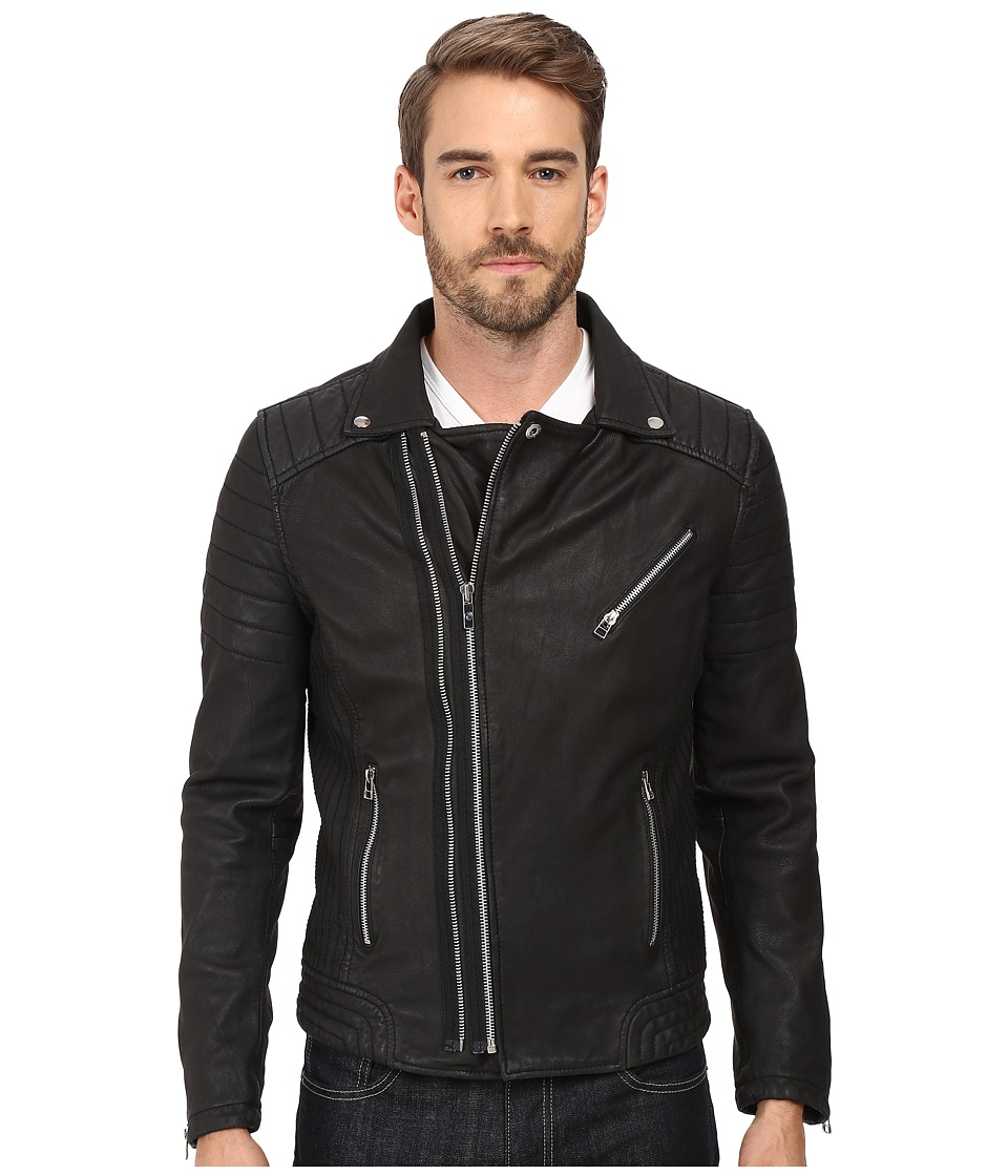 Goosecraft - Sheep Skin Drum Biker Jacket (Black) Men's Coat
