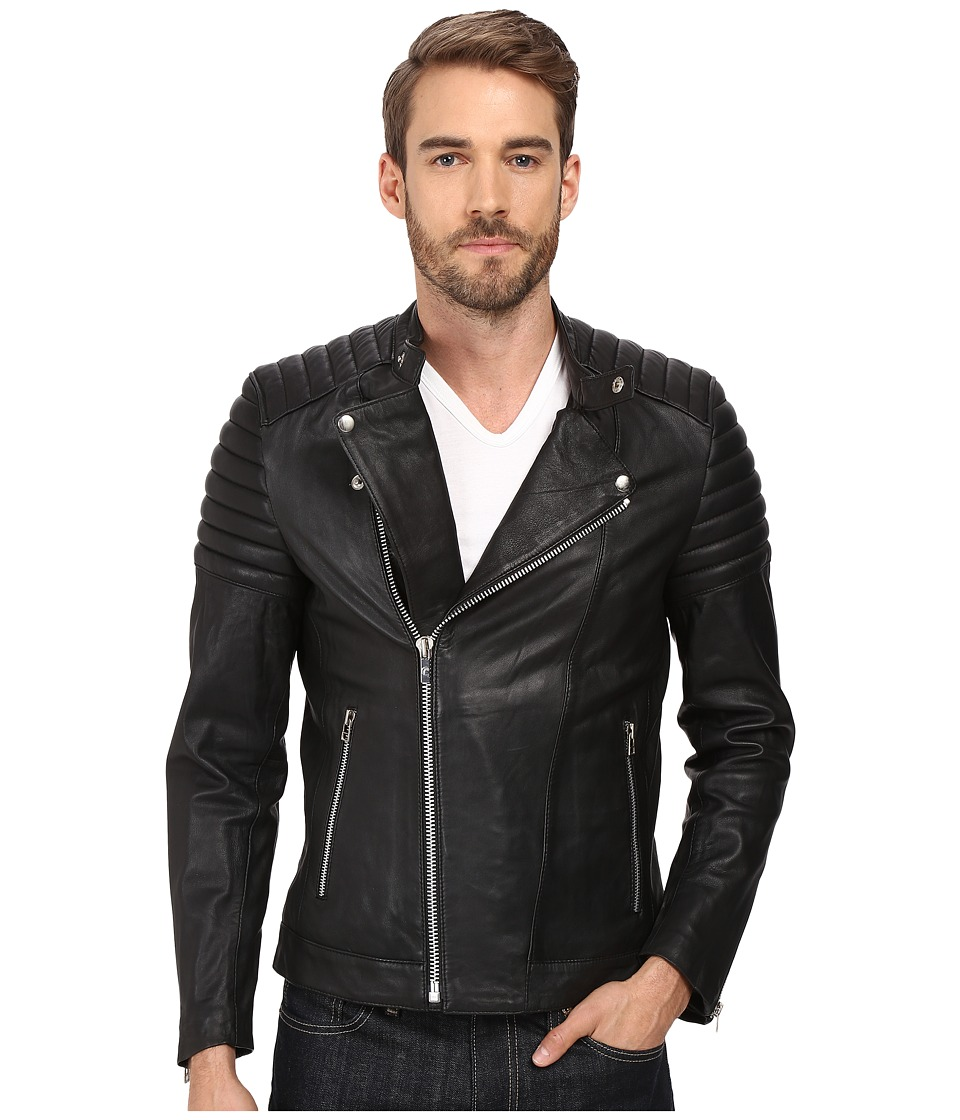 Goosecraft - Sheep Skin Bristol Biker Jacket (Black) Men's Coat