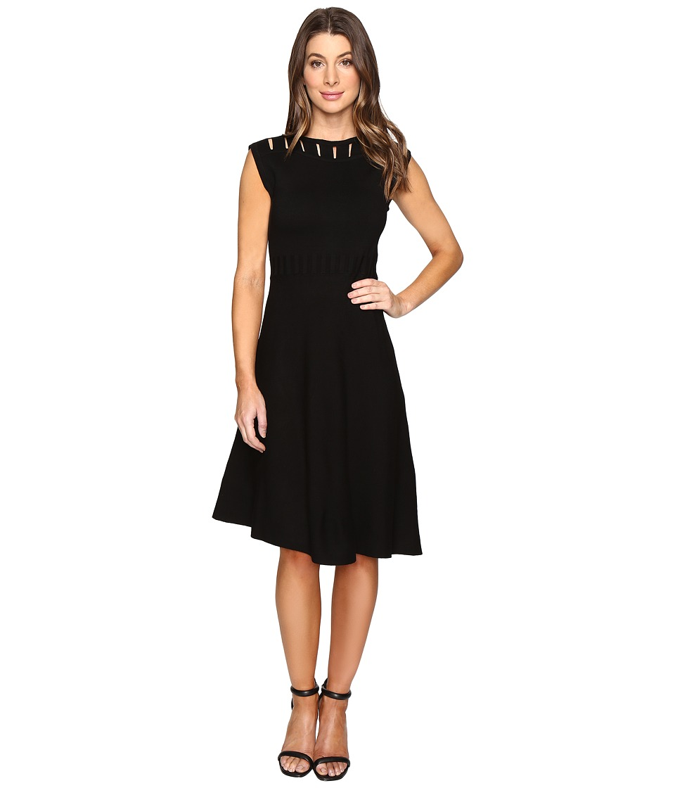 CATHERINE Catherine Malandrino - Sleeveless Cut Out Yoke Fit Flare (Black) Women's Dress