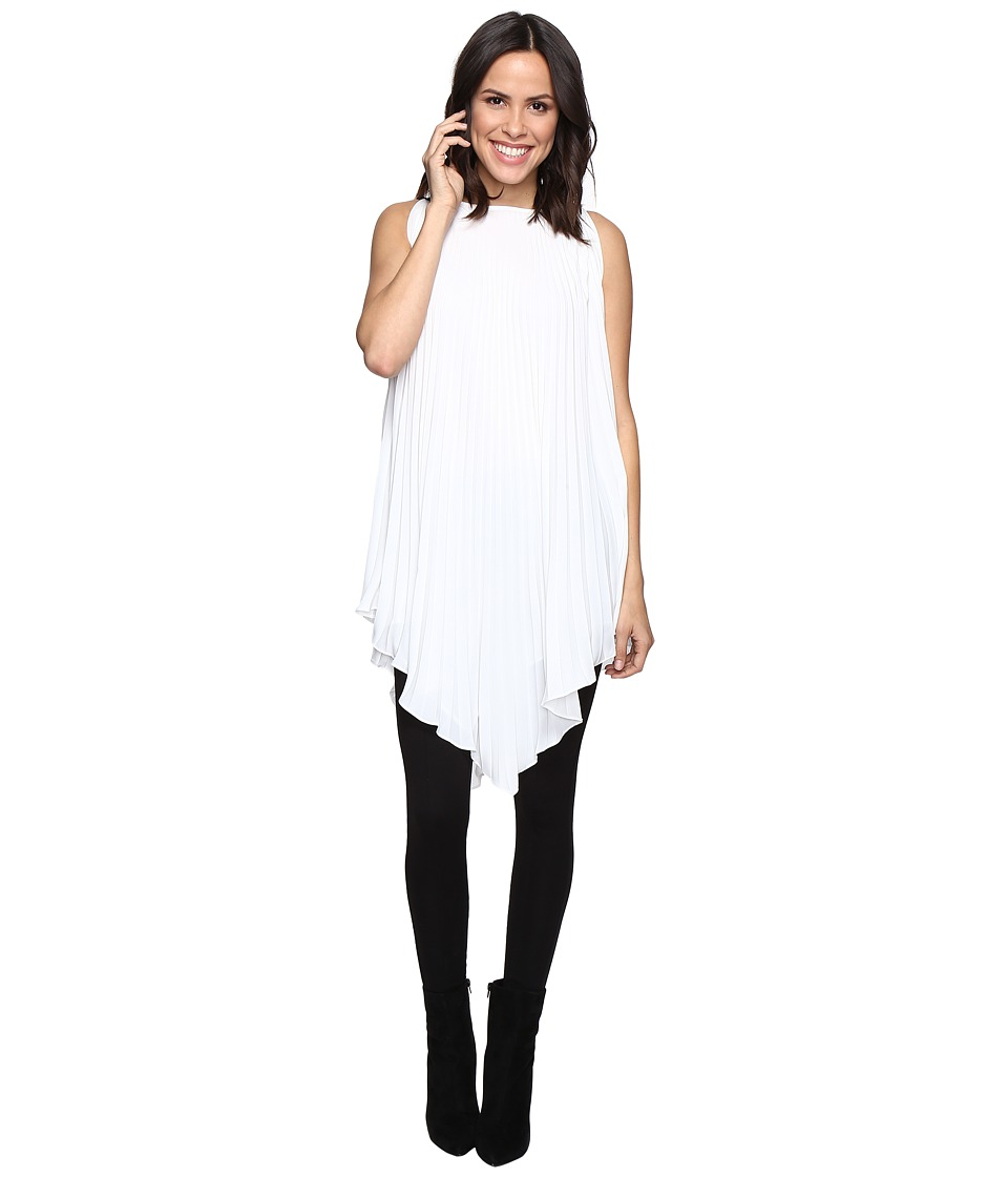 CATHERINE Catherine Malandrino - Sleeveless Pleated Tunic with V-Hem (Macadamia Ivory) Women's Clothing