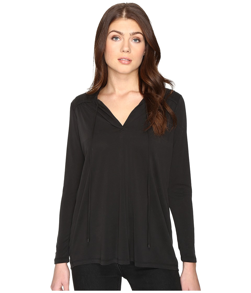 CATHERINE Catherine Malandrino - Long Sleeve Pleat Shoulder Tie Neck (Black) Women's Clothing