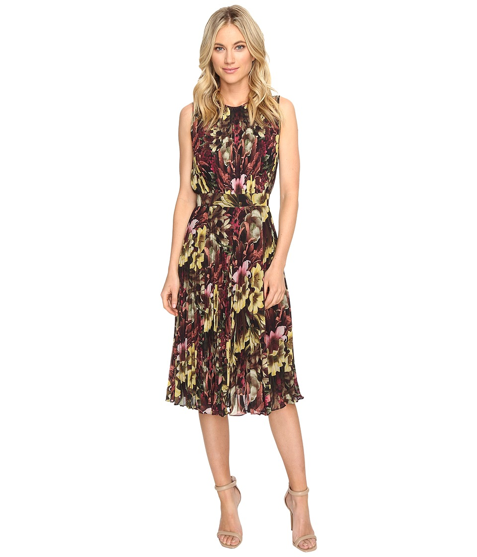 CATHERINE Catherine Malandrino - Printed Sleeveless Pleated Dress (Winter Floral) Women's Dress