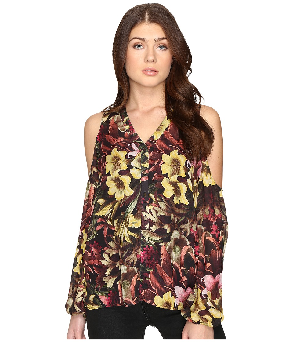 CATHERINE Catherine Malandrino - Printed Chiffon Cold Shoulder Top (Winter Floral) Women's Clothing