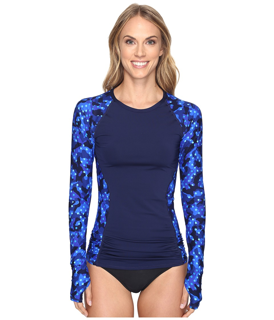 TYR - Cadet Aria Long Sleeve Rashguard (Royal/Navy) Women's Swimwear