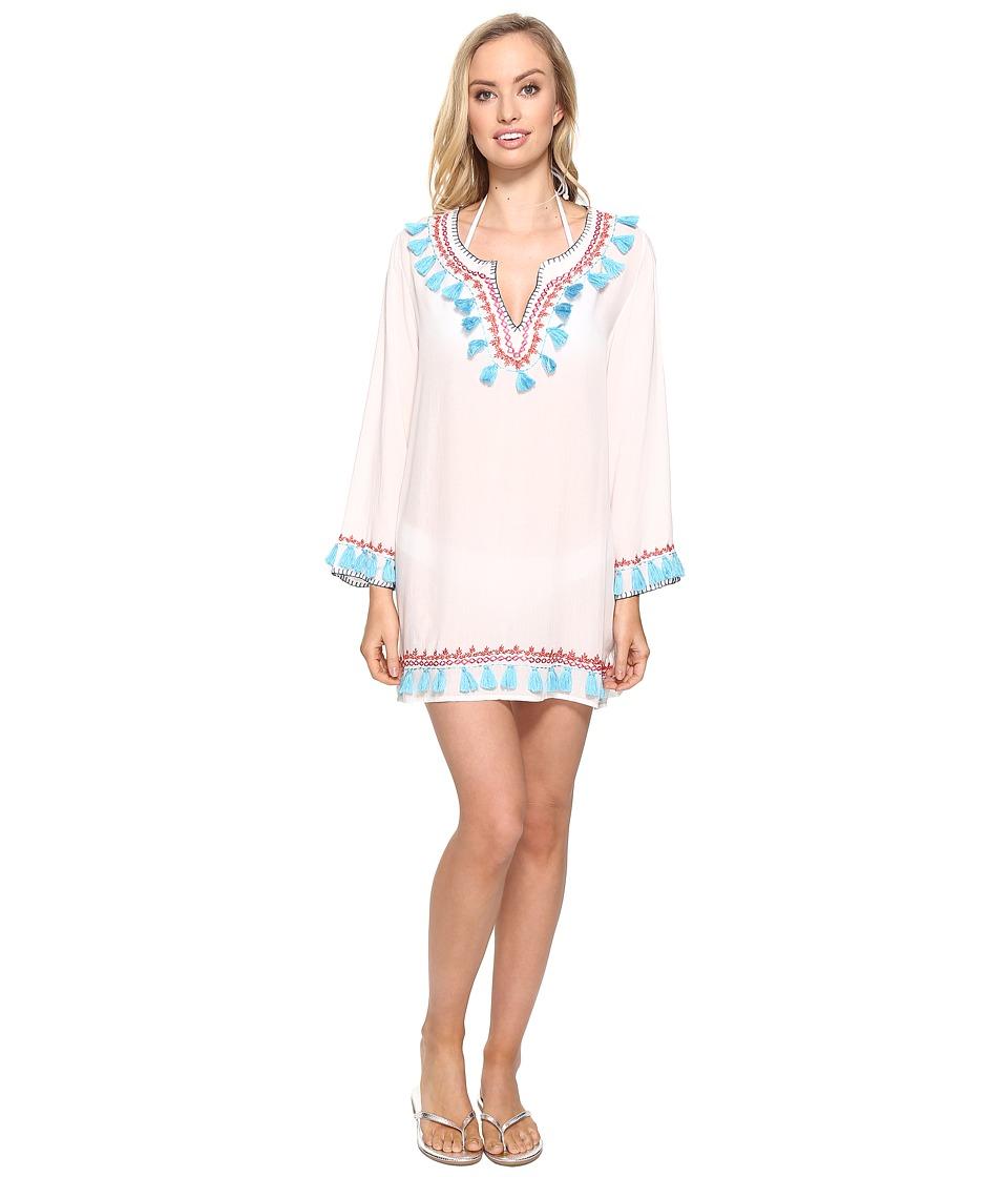 Bindya - Boho Tassels Long Sleeve Tunic (White) Women's Blouse