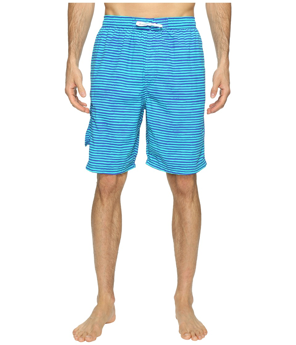 TYR - Micro Stripe Challenger Shorts (Royal/Green) Men's Swimwear