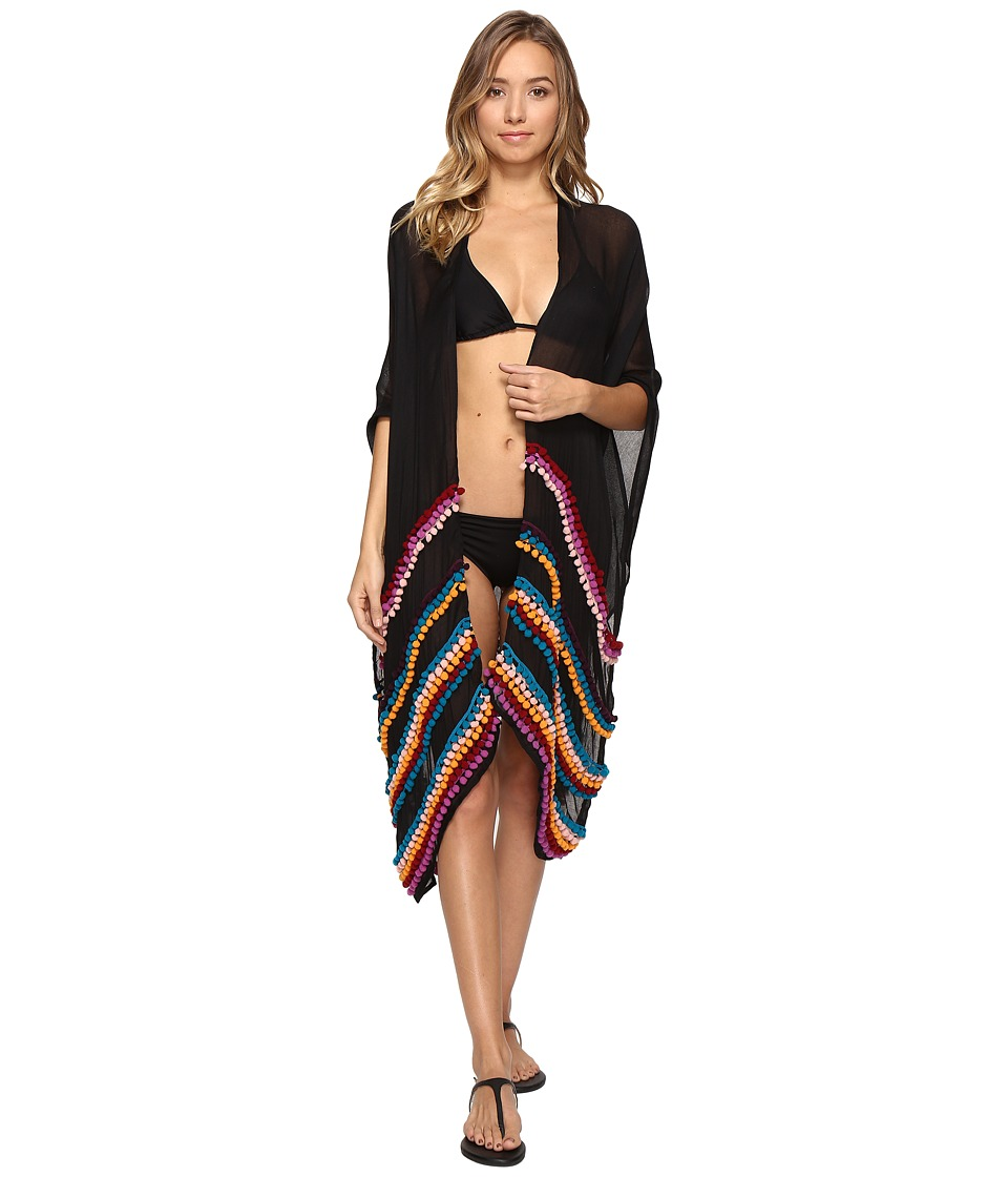 Bindya - Pom Pom Kimono (Black) Women's Clothing