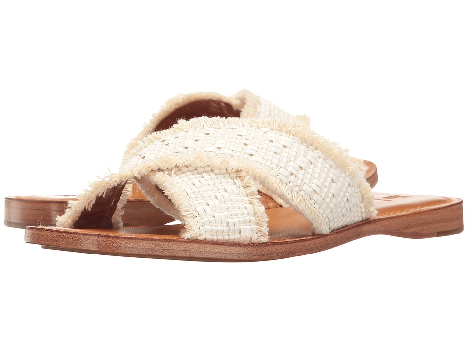 Frye Hayley Frayed Slide (White Raffa Fabric) Women