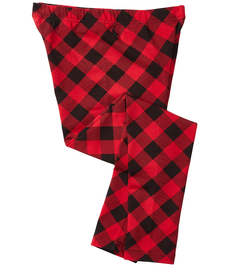 Polo Ralph Lauren Kids - Cotton Jersey Buff Check Leggings (Little Kids) (Red/Black) Girl's Casual Pants