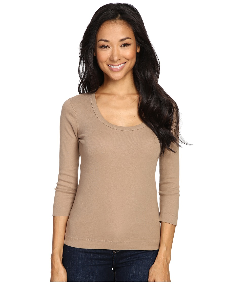 Three Dots - 3/4 Sleeve Scoop Neck (Camel B) Women's Long Sleeve Pullover