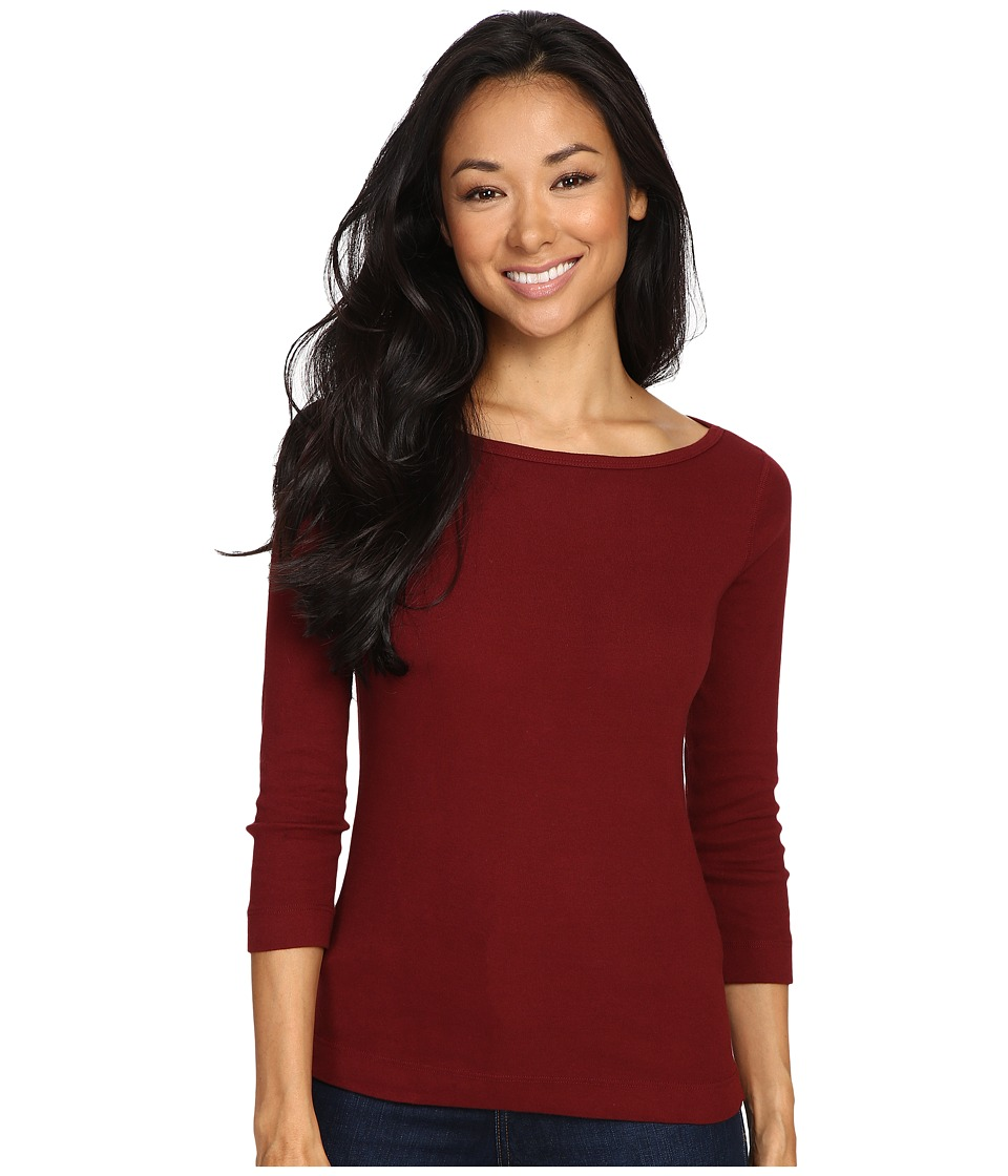 Three Dots - 3/4 Sleeve British Tee (Malbec) Women's Long Sleeve Pullover