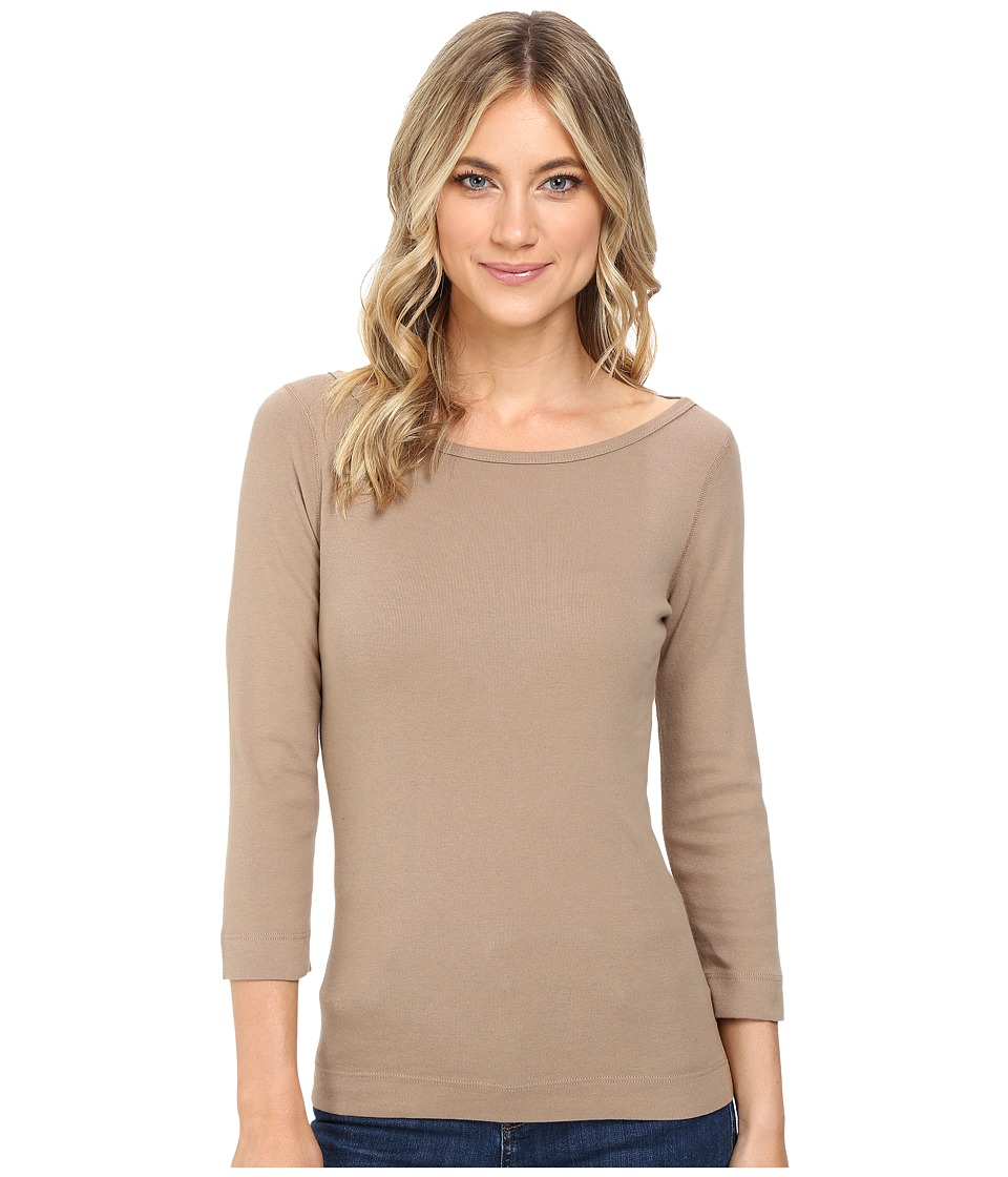 Three Dots - 3/4 Sleeve British Tee (Camel B) Women's Long Sleeve Pullover