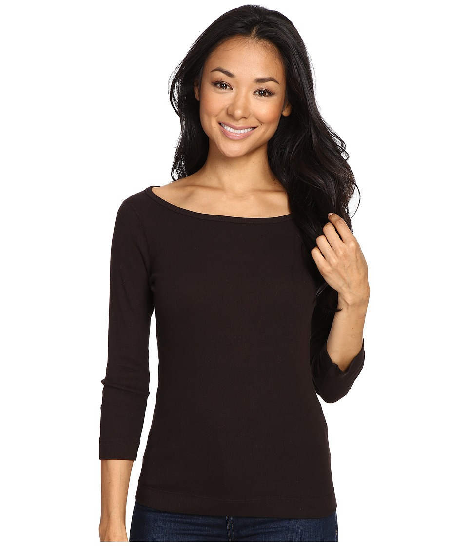 Three Dots - 3/4 Sleeve British Tee (Deep Hazel) Women's Long Sleeve Pullover