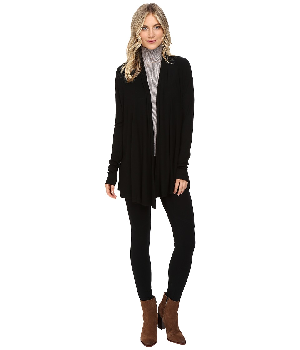 Three Dots - Deirdre - Long Sleeve Cardigan (Black) Women's Sweater