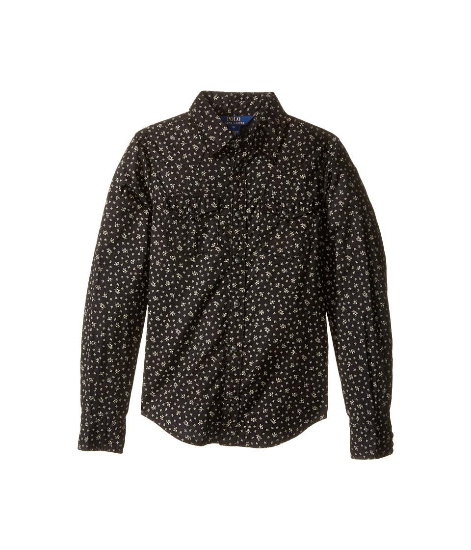 Polo Ralph Lauren Kids - Cotton Gauze Western Shirt (Big Kids) (Black/Cream Multi) Girl's Clothing