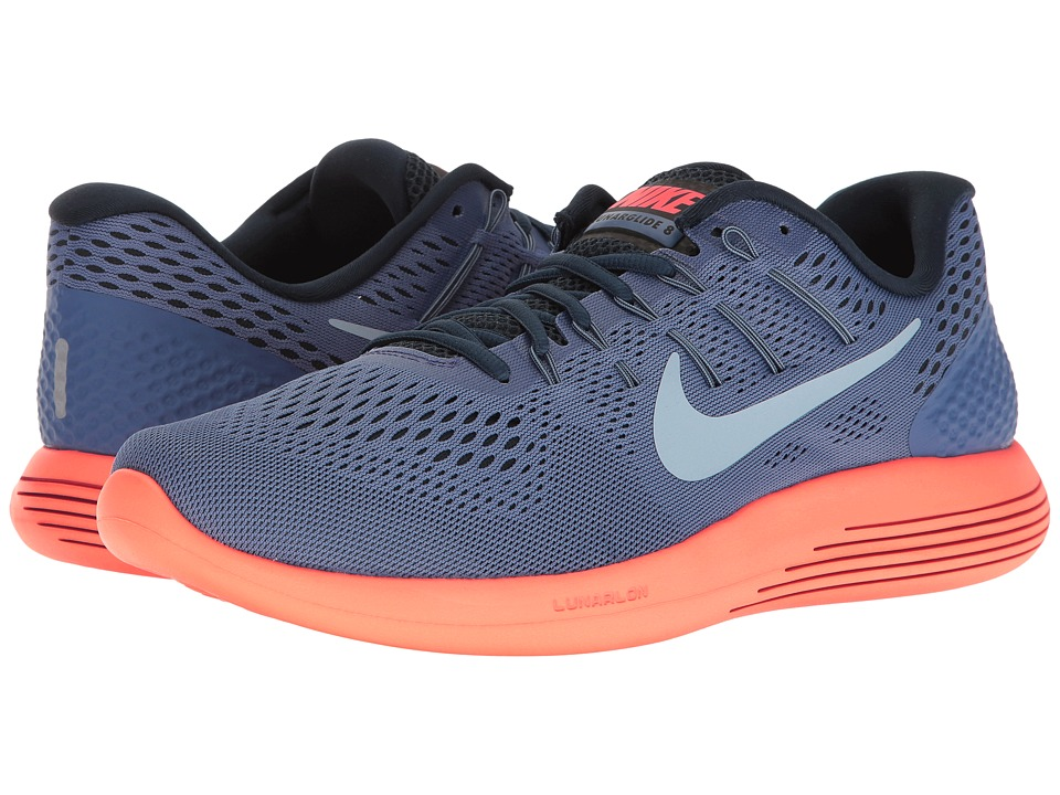 Nike - Lunarglide 8 (Blue Moon/Light Armory Blue/Hyper Orange) Men's Running Shoes