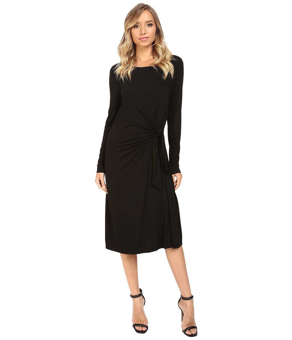 Three Dots - Whitney B. - Long Sleeve Twist Dress (Black) Women's Dress