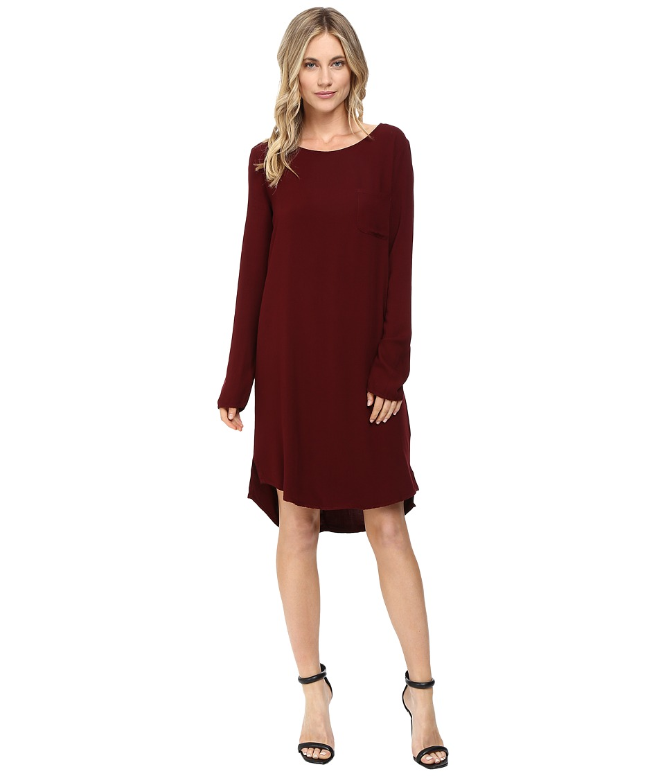 Three Dots - Kennedy - Long Sleeve Shirtdress (Malbec) Women's Dress