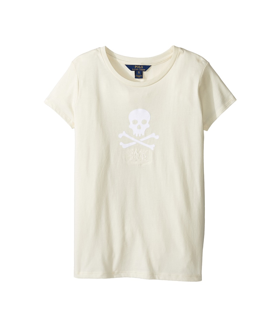 Polo Ralph Lauren Kids - Enzyme Jersey Short Sleeve Graphic Tee (Little Kids/Big Kids) (Herbal Milk) Girl's T Shirt