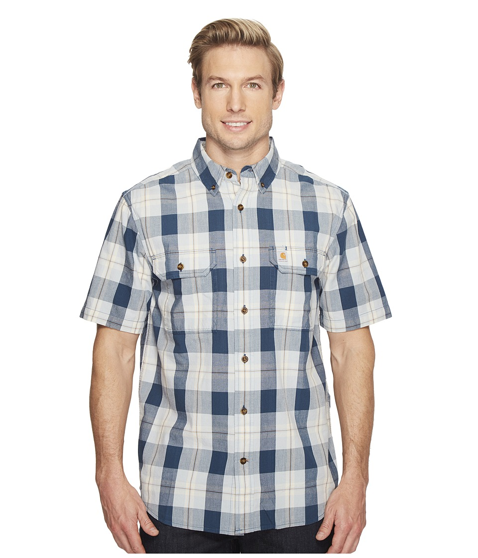Carhartt - Fort Plaid Short Sleeve Shirt (Steam Blue) Men's Short Sleeve Button Up
