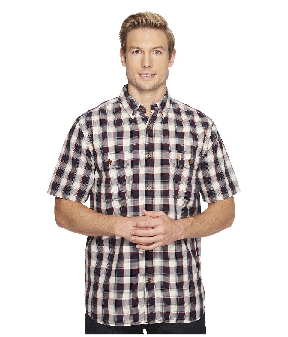 Carhartt - Fort Plaid Short Sleeve Shirt (Navy) Men's Short Sleeve Button Up