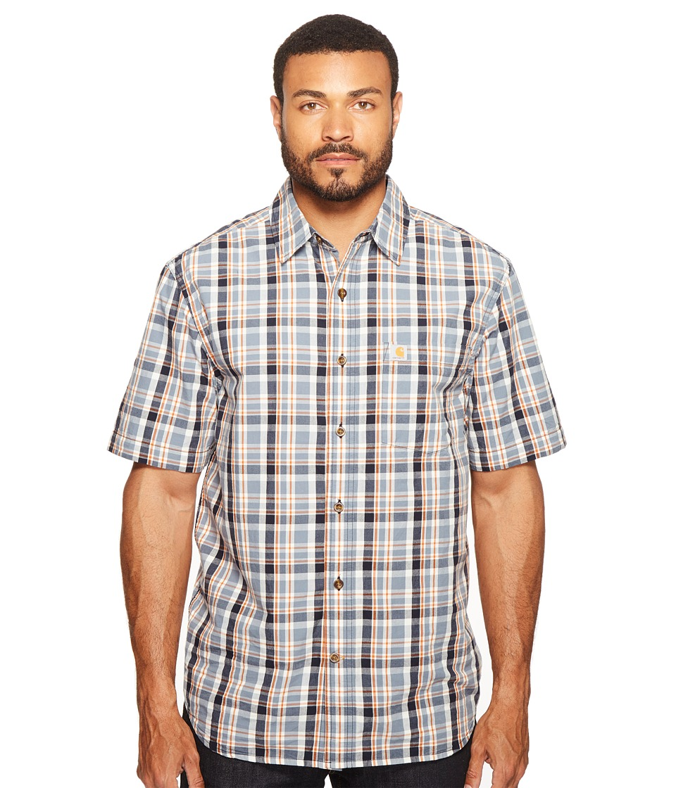 Carhartt - Essential Plaid Open Collar Short Sleeve Shirt (Steel Blue) Men's Short Sleeve Button Up