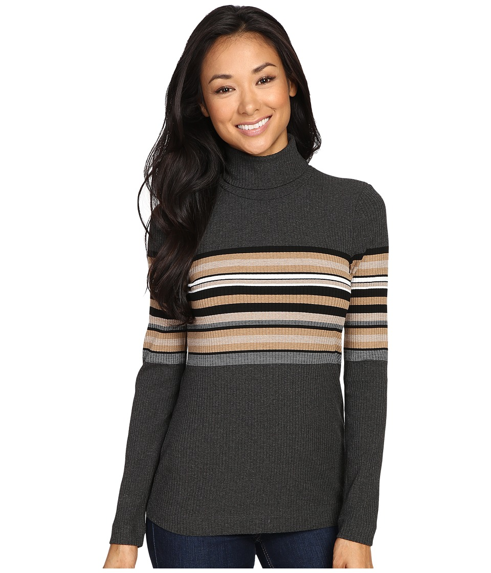 Three Dots - Norma - Long Sleeve Turtleneck (Charcoal Combo) Women's Clothing