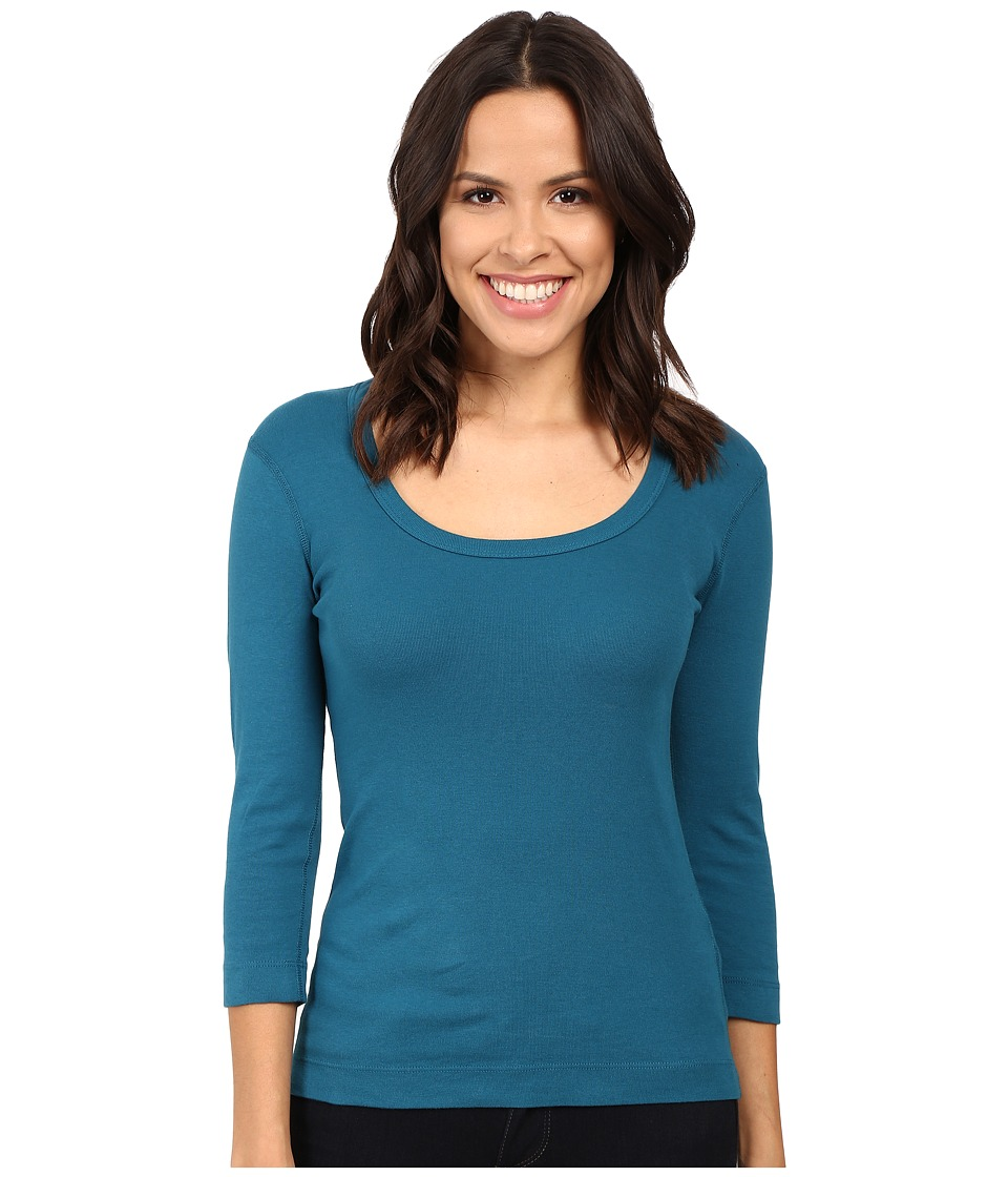 Three Dots 3/4 Sleeve Scoop Neck (Deep Topaz) Women