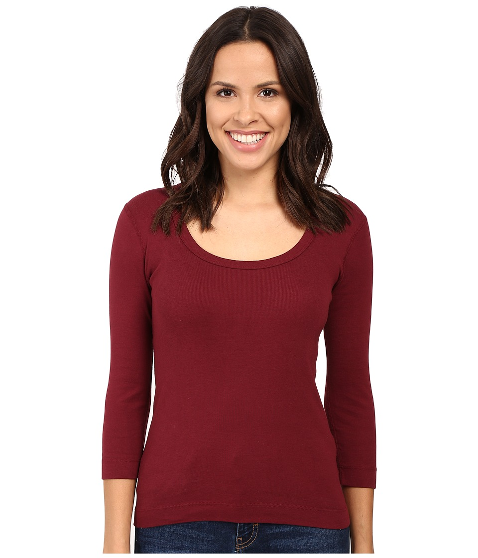 Three Dots - 3/4 Sleeve Scoop Neck (Bordeaux) Women's Long Sleeve Pullover