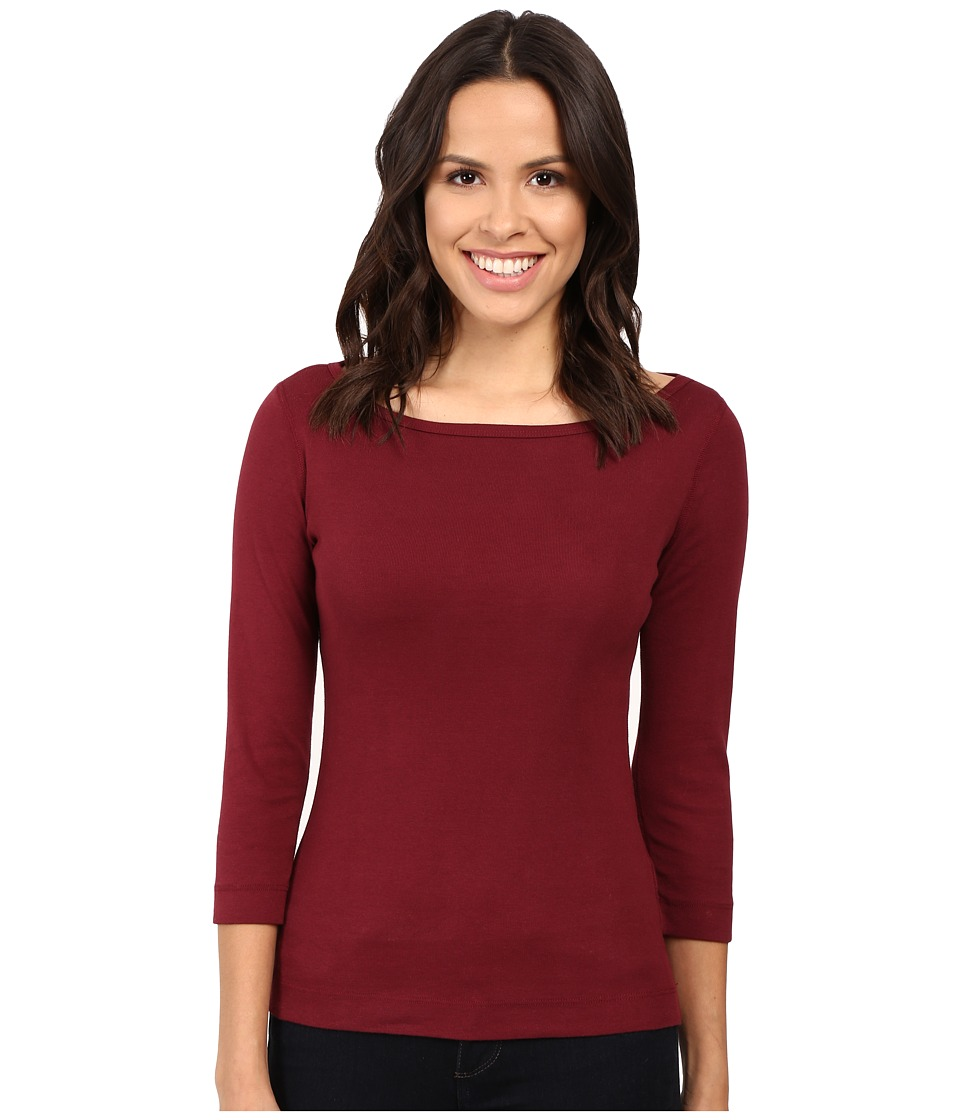 Three Dots - 3/4 Sleeve British Tee (Bordeaux) Women's Long Sleeve Pullover