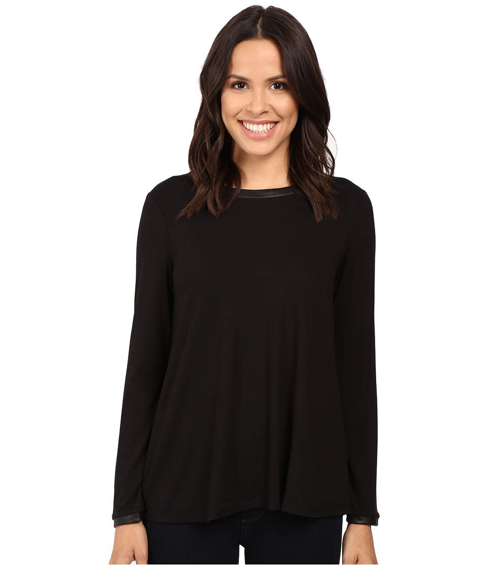 Three Dots - Leather Trim A-Line Tee (Black) Women's Clothing