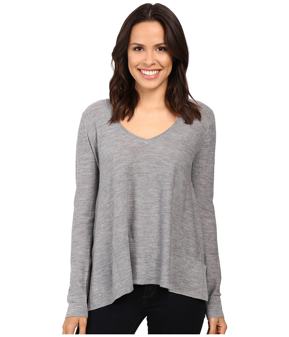 Three Dots - Swingy V-Neck (Granite) Women's Clothing