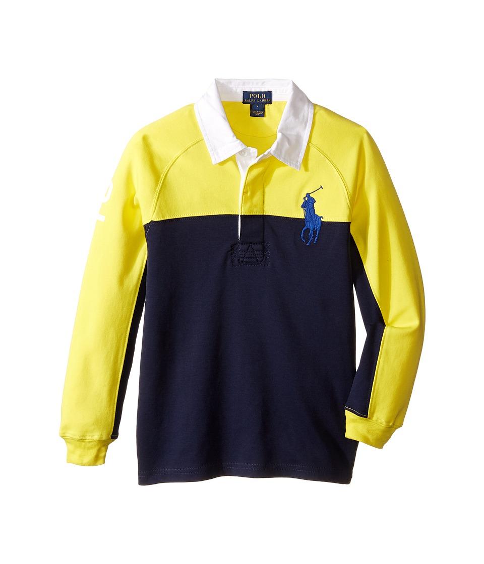 Polo Ralph Lauren Kids - Jersey Raglan Rugby (Little Kids/Big Kids) (Active Yellow) Boy's Long Sleeve Pullover